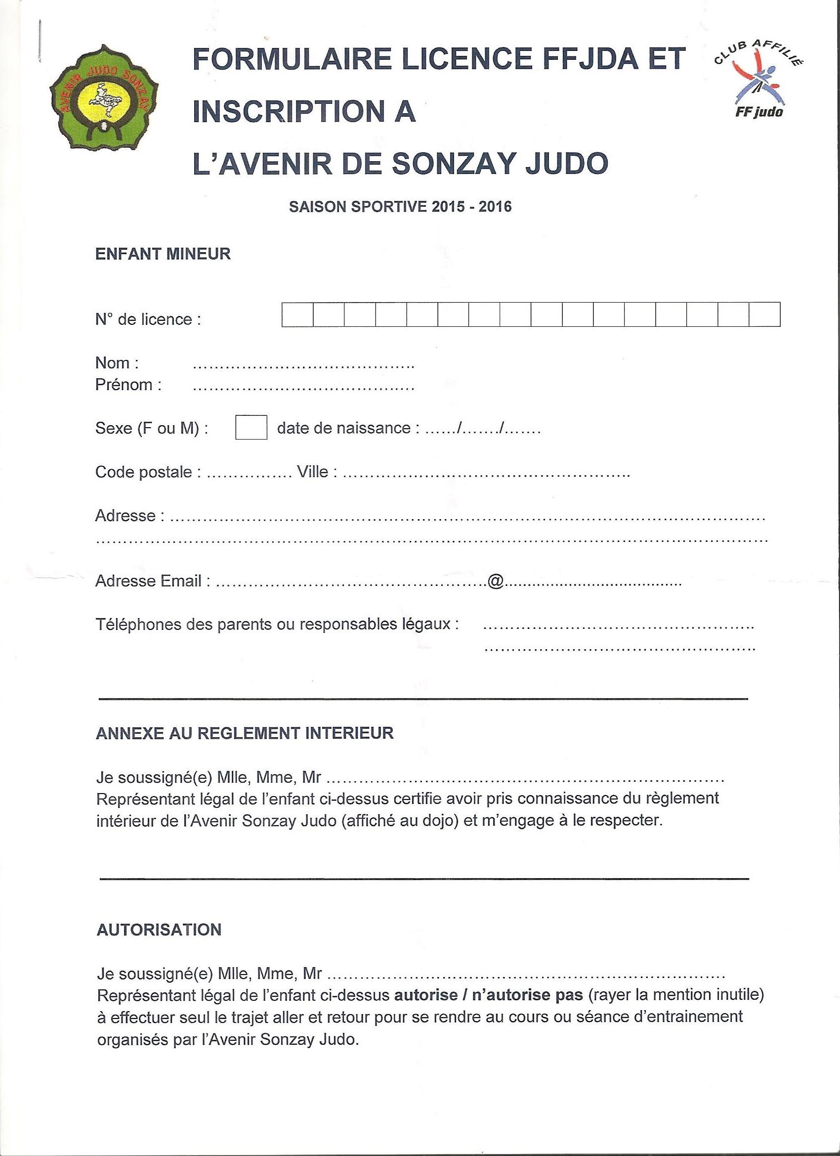 Formulaire inscription au club for D et co inscription